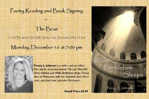 Come enjoy your favorite holiday beverage fireside and listen to selections from While Bethlehem Sleeps. Signed copies will be available for purchase. Hope to see you there!